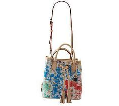 A bright Signature Splash pattern gives this plastic-coated drawstring bag its summery personality, while luxe leather trim keeps it sophisticated. Purse For Teens, Qvc, Dooney Bourke, Purses And Handbags, Bucket Bag, Easy, Leather, Colorful, School