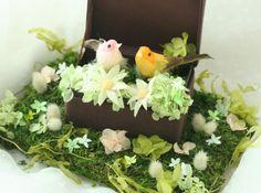 ブーケ プリザーブド プルメリア 八芳園様へ 小鳥のリングピロー : 一会 ウエディングの花