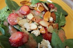Crunchy strawberry salad with ramen noodles.