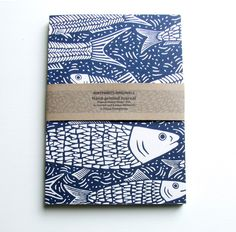 Fish linocut Journal, recycled
