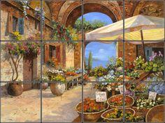 Colorful Outdoor Italian Food Market reproduced onto ceramic tiles for backsplash idea.