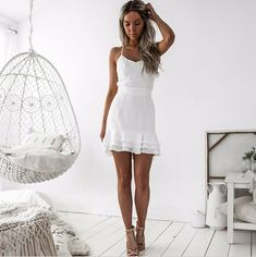 Sheath Spaghetti Straps Short White Homecoming Dress,1210