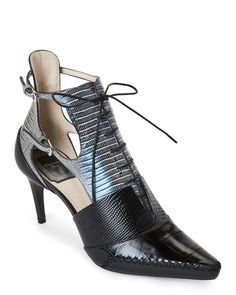 04e8135b42548 Black   Blue Nomade Embossed Pointed Toe Booties