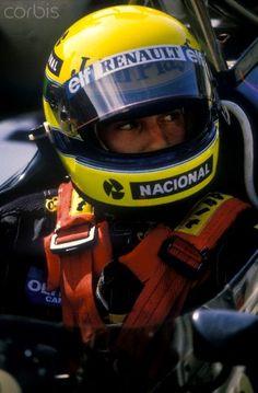 Ayrton Senna in his Lotus Renault F1 car Portuguese GP 1985