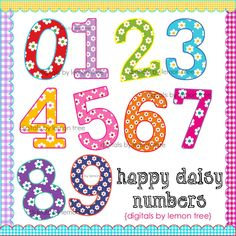 Digital Clip Art -- Happy Daisy Numbers (Instant Download). $3.00, via Etsy.
