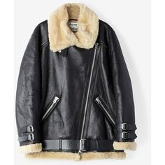 ACNE STUDIOS Velocite Shearling Jacket (€2.500) ❤ liked on Polyvore featuring outerwear, jackets, black w beige, oversized shearling jacket, shearling biker jacket, asymmetrical zip jacket, beige moto jacket and rider jacket