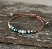 Boho Bracelet Handmade Natural Stone Wax Cord – Jewelry - To Have a Nice Day Leather Jewelry, Boho Jewelry, Jewelry Crafts, Gemstone Jewelry, Beaded Jewelry, Jewelry Ideas, Beaded Necklaces, Bohemian Bracelets, Gemstone Bracelets