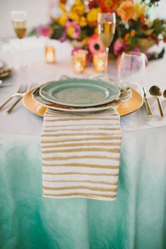 gold striped napkins paired with ombre turquoise linens Photography + Creative Direction by Paige Jones / paigejones.co, Design, Decor + Styling by Simply Charming Socials / simplycharmingsocials.com, Floral Design by Gertie Maes Floral Studio / gertiemaes.com