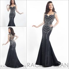 2015 Rachel Allan Black Sweetheart Neckline Long Evening Dresses Taffeta Cap Sleeves Beaded Mermaid Illusion Backless Formal Party Gowns Hot from Marrysa,$180.95 | DHgate.com