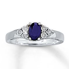 Natural Sapphire Ring Diamond Accents  10K White Gold I love this ring the most!