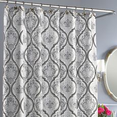 Add an elegant yet modern touch to your bathroom with this stylish shower curtain. Its timeless damask design flows over the shower curtain's soft white ground. Zen Bathroom Decor, Lake House Bathroom, Bathroom Shower Curtains, Fabric Shower Curtains, Bathroom Ideas, Fabric Canopy, Bath Shower, Basement Bathroom, Bath Ideas