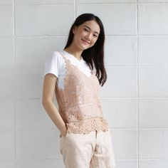 Sleeveless Tops Lace Cotton Jasmine Tan Color-www.tanbagshop.com