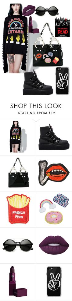 """it's my goth side"" by annabidel ❤ liked on Polyvore featuring Disturbia, Puma, Moschino, Olympia Le-Tan, Cara, ZeroUV, Lime Crime, Lipstick Queen and Casetify"