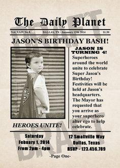 Superhero Newspaper Birthday Invitation - Personalized, Spiderman, Batman, Superman, Ironman, Thor, Hulk