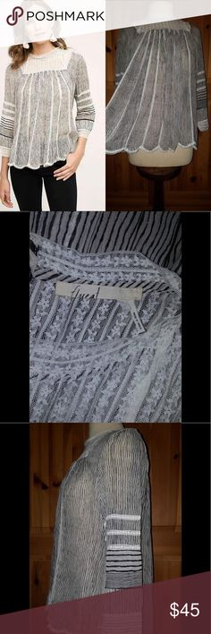 50%OFF Anthropologie Reina Pleated Lace Blouse Slip into this beautiful blouse.  Black And Black Stripes, and pretty lace features. Perfectly lightweight for Spring & Summer. MAKE AN OFFER. Condition: Preloved, No flaws Retail: $78.00 Size: L  BUNDLE & SAVE 25% (Not valid during sales) Questions down below CONSIDERING REASONABLE OFFERS Get it in time for that special event Same day-next day shipping Anthropologie Tops Blouses