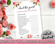 Find The Guest Game in Bohemian Flowers Bridal Shower Pink And Red Theme, bachelorette games, boho chic, paper supplies, party decor - 06D7T - Digital Product bridal shower wedding bride to be bridesmaids
