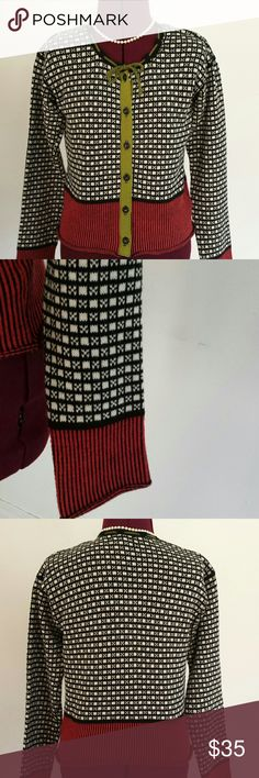 """Neesh by d.a.r. vintage - look sweater A knitter's hobby, penchant for collecting vintage items and a load of creativity blossomed into neesh by d.a.r. a specialty line carried in boutiques throughout the US.     Thus darling cropped cardi combines black & white checks with red & black stripes.  Green yarn ribbon tie frames the jewel neckline.  Matching green grosgrain ribbon placket sets 9ff black buttons.  Bust 34"""" Back neck to hem 19"""" 100% cotton. Excellent condition!! neesh by d.a.r…"""