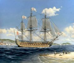 El navío Real Felipe fue un imponente buque de tres puentes de cañones, el primero de su clase en España en el siglo XVIII. Pintura de Carlos Parrilla.