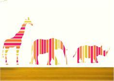 Nursery Decor Elephant,Giraffe and Rhinoceros Fabric Wall Decals, Animal Decal Set, Safari Animals Decals, Stripes pattern animal decals by Popitay on Etsy https://www.etsy.com/listing/105367325/nursery-decor-elephantgiraffe-and