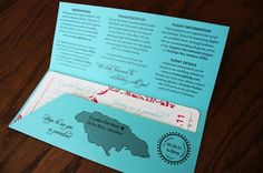 Turquoise and Pink Airline Ticket Wedding Invitations wedding-ideas
