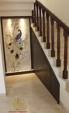 Home Tour: Usha and Pavan Kaipa's Home Designed by Inner Space - dress your home - best interior Farmhouse Living Room Furniture, Painted Bedroom Furniture, Staircase Wall Decor, Staircase Design, Loft Staircase, Decor Interior Design, Interior Decorating, Luxury Interior, Decorating Ideas
