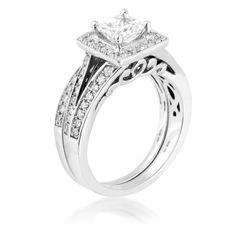 Ladies Princess Cut Diamond Wedding Set in White Gold | Riddle's ...