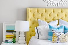 sarah m. dorsey designs: Yellow Tufted Headboard with Arms