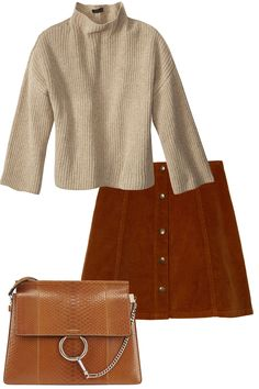 """""""Cozy neutrals are perfect layering pieces for fall,"""" Emily says of this oversize velvet sweater by The Row.  The Row sweater, similar styles available at Neiman Marcus; Topshop skirt, nordstrom.com; Chloe bag, available at Simon Centers nationwide, simon.com.    - HarpersBAZAAR.com"""