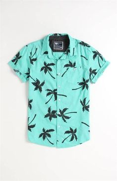 Modern Amusement Al Palm Print Short Sleeve Woven Shirt Casual Shirts For Men, Men Casual, Summer Shirts, Printed Shorts, Mens Printed Shirts, 80s Fashion, Look Cool, Shirt Sleeves, Casual Outfits