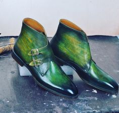 Green double monk strap boots / The Bespoken Mogul