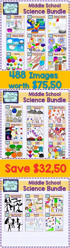 This bundle includes 488 images for Middle School Science. Commercial use OK. #Clipart #Teaching