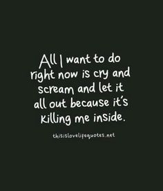 I want to scream and just throw things around but I can't because then they'll think I'm crazy...