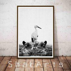 Hippopotamus Art Printable Poster Hippopotamus Gift by ShakArts