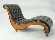 Dollhouse miniature furniture tutorials 1 inch minis for Art nouveau chaise lounge