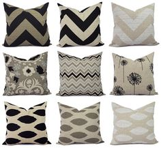 Cream Decorative Pillow Cover  Black Pillow by CastawayCoveDecor, $10.00
