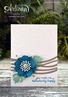 handmade card ... luv the design ... big layered flower in Dapper Denim ... Swirly Bird wavy lines ... Stampin' Up!