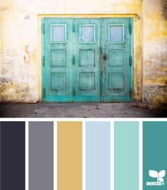 a door hues Color Palette by Design Seeds Palettes Color, Colour Pallette, Color Palate, Colour Schemes, Color Combos, Turquoise Color Schemes, Turquoise Door, Turquoise Kitchen, Color Mix