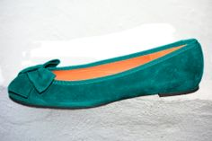 Neus ballerina shoe in emerald green by Maria by MariaRivassi, $260.00 Or black. Or white. Or grey. Or tan.