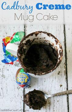 Cadbury Creme Mug Cake All it takes is 5 minutes to make this moist chocolatey treat with a molten Cadbury Creme Egg core, yum!!