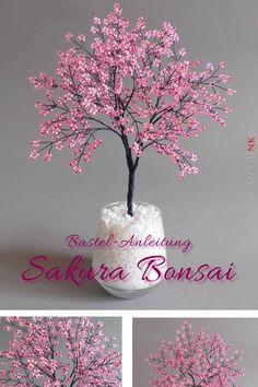 Cherry Blossom Bonsai Made Of Pearls Wire Modern Bonsai - Diy Crafts Paper Crafts Origami, Beaded Crafts, Wire Crafts, Beaded Flowers Patterns, French Beaded Flowers, Bonsai Making, Copper Wire Art, Wire Art Sculpture, Fleur Design