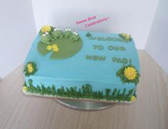 """House Warming - """"Welcome To Our New Pad""""  Frogs Cake Topper Set! Fondant by SweetBriarCelebrates on Etsy"""