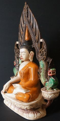 18th Century Marble  Antique Thai Lanna Marble Buddha Statue seated on double lotus throne with dragons on either side
