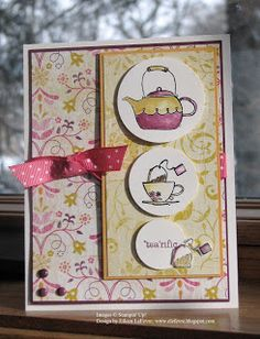 """SU Card by Eileen LeFevre.  Stamps: Morning Cup  Inks: Stazon Black, So Saffron, Rich Razzleberry, Melon Mambo, Soft Suede  Papers: Whisper White, Rich Razzleberry, Crushed Curry, Razzleberry Lemonade DSP  Accessories: 1-3/8"""" Circle Punch, 1-1/4"""" Circle Punch, 1"""" Circle Punch, Melon Mambo Ribbon, Rich Razzleberry Brads, Watercolor Brush, Dimensionals, Mini Glue Dots"""