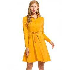 New Women Casual Turn-down Collar Long Sleeve Solid Shirt Dress