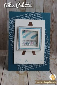 Stampin Up Alles Palette painters bringst farbe in mein leben Schüttelkarte Shakercard Pinselstrich Jeansblau Stempeltier pailetten Acetate Cards, Confetti Cards, Valentine Banner, Pallet Painting, Stampin Up Catalog, Shaker Cards, Masculine Cards, Cool Cards, Homemade Cards