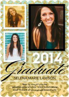 Neon Leopard - #Graduation Invitations - Eleanor - Sea Glass - Green | TinyPrints.com