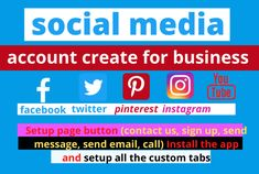 welcome my Gig Do you want increase traffic your business? need more active customers and sales? So  quick Get started your business on social media platform.  Nowadays, social media is the most important for facilitating your business. You can get huge audience feedback. Do you need to create, setup and fully customize professional business pages like Facebook, YouTube, Twitter, Pinterest, Instagram LinkedIn  but this is the right place for you. Online Marketing, Digital Marketing, Seo Professional, Facebook Youtube, Advertise Your Business, Like Facebook, Business Pages, Video Editing, Get Started