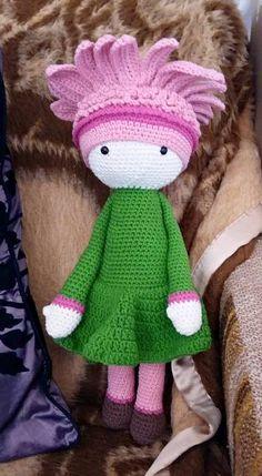 Gerbera Gemma flower doll made by Törökné GM - crochet pattern by Zabbez