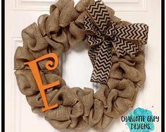 Chevron burlap wreath with monogram- front door wreath- year round wreath- initial wreath- burlap wreath