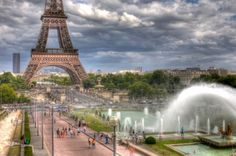 Eiffel Tower with Trocadero fountains